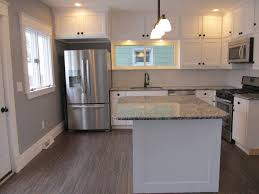 contemporary kitchen with hardwood floors u0026 kitchen island in