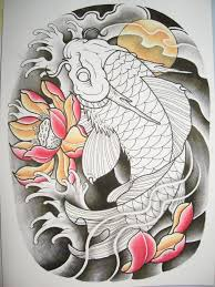 pink flower and dragon fish tattoo design