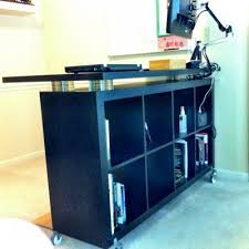 Desk Risers For Standing Desk Amazing Ikea Desk Riser Another Expedit Standing Desk With Cds As