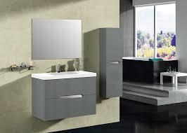Abella  Inch Modern Grey Finish Bathroom Vanity Set Solid Oak Wood - Solid wood 32 inch bathroom vanity