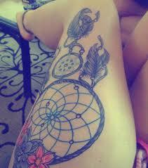 Large Flower Tattoos On - leg thigh dreamcatcher big beautiful artwork tattoos