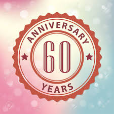 60 years anniversary 60 years anniversary retro style seal with colorful bokeh