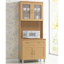 small kitchen cabinets walmart hodedah kitchen cabinet with top and bottom enclosed cabinet space in beige wood