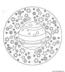 free mandala to color planet stars coloring pages printable