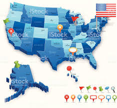 Navigation Map Usa 3d Map States Cities Flag And Navigation Icons Stock Vector