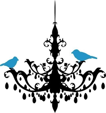 Chandelier Wall Decal Chandelier With Tweeting Birds Vinyl Wall Decal By Ten23designs