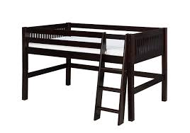 amazon com camaflexi mission style solid wood low loft bed full