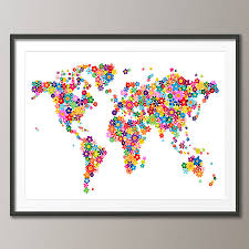 Framed World Map by Flowers Map Of The World Art Print By Artpause