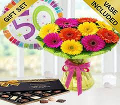 50th birthday flowers and balloons birthday germini gift vase arrangement with a 50th birthday