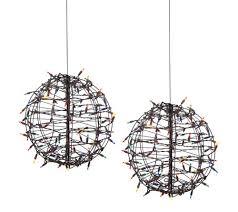 set 2 pre lit fold flat spheres with 100 lights by lori greiner