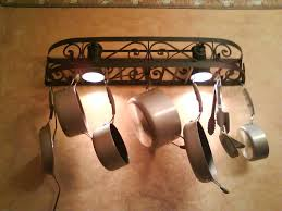 lighted hanging pot racks kitchen attractive lighted pot rack decor home painting ideas