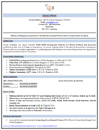 Example Of Objective In Resume For Jobs by Example Template Of An Excellent Icwa And M Com Resume Sample With