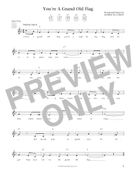Youre A Grand Old Flag Sheet Music Digital Files To Print Licensed Ukulele Digital