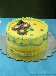 flower fondant cakes nitha kitchen eggless mango buttercream frosting butter cream