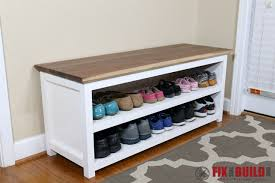 Free Entryway Storage Bench Plans by Diy Entryway Shoe Storage Bench Fixthisbuildthat