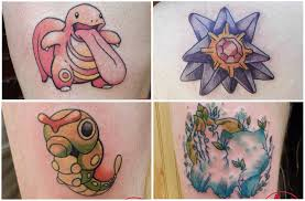 a tattoo artist is tattooing the 151 original pokémon onto her