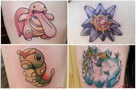 a tattoo artist is tattooing the 151 original pokémon onto her