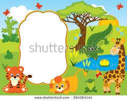 safari cartoon vector card template cute cartoon safari stock photo photo vector