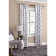 Curtain Pair Mainstays Mini Damask 2 Pack Rod Pocket Panel Pair Walmart