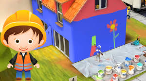 cartoon u0026 game little builders paint a house in different