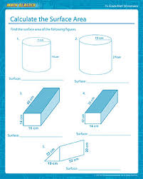 calculate the surface area free math worksheets for 7th graders
