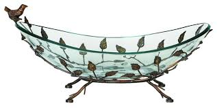 urban designs foliage large glass bowl center piece with metal