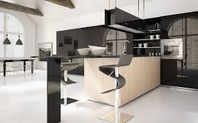 Open Kitchen Cabinet Designs Alluring Modern Style Kitchen Cabinets With Large Black Glass