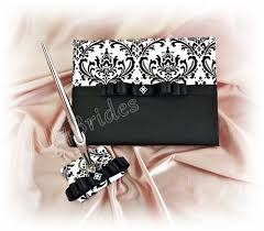 black wedding guest book damask wedding guest book black and white wedding
