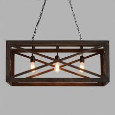 Iron And Wood Chandelier Rectangular Gray Wood 3 Light Valencia Chandelier World Market