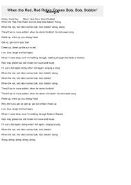 when the robin comes bob bob bobbin along 6 lyrics