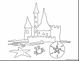 Extraordinary Simple Sand Castle Coloring Pages With Beach Sandcastle Coloring Page