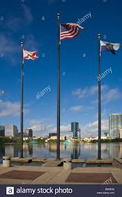 Flags And Flagpoles Flag Poles And Flags At Sunset In Park Around Lake Eola In