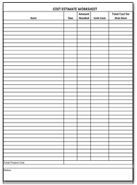 cost estimate worksheet free worksheets library download and
