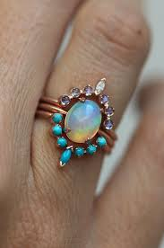 matrix opal ring fire opal turquoise u0026 moonstone ring set minimalvs on etsy