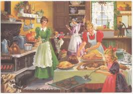 Old Fashioned Kitchen Vintage Greeting Card Christmas Old Fashioned Kitchen Family