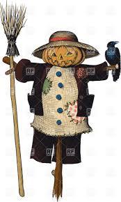 halloween background crow halloween field scarecrow with broom and crow on shoulders vector
