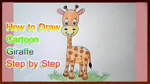 how to draw cartoon giraffe cute step by step youtube