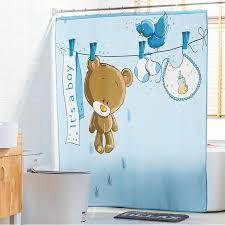 Childrens Shower Curtain Baby Blue Print Children S Shower Curtains