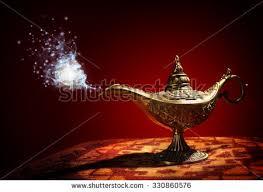 magic lamp story aladdin genie appearing stock photo 180557234