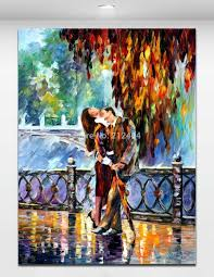 Mural Painting On Canvas by Kiss On Bridge Lover Date Picture Palette Knite Oil Painting