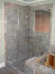 cute picture of bathroom shower decoration using light blue glass