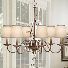 Chandeliers Ls 6 Light Uplight Wrought Iron Chandeliers Rustic With Glass Shade