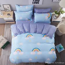 rainbow white clouds bedding set blue scenic duvet cover bed sheet