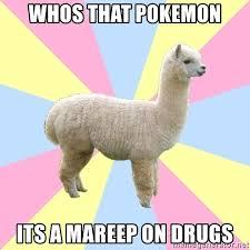 whos that pokemon its a mareep on drugs avoidant alpaca meme