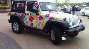 cool pink jeep cool jeep lilly pulitzer car wrap walk around the car youtube