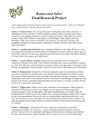 romeo and juliet final research project revised