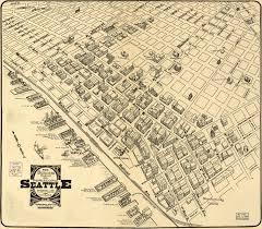 Seattle Ferry Map by Seattle Business District Birdseye View 1903