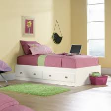 Twin Bed With Storage Sauder Shoal Creek Twin Mates Bed With Headboard Soft White