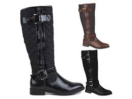 womens knee high boots sale uk womens quilted biker knee high boots flat buckle