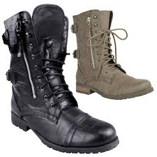 s zip ankle boots uk womens combat army worker lace up flat biker zip